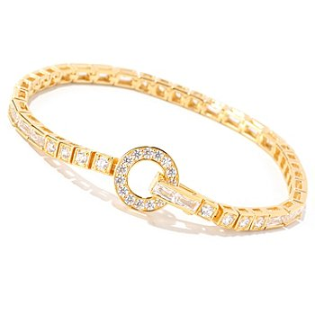 129-212 - TYCOON Round & Rectangle Simulated Diamond Line Bracelet
