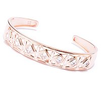 TYCO SS/CHOICE SQUARE CUT BEZEL SET OPEN WORK CUFF BANGLE