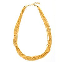 "SS/18KGP NECK MULTI-STRAND WIRE WRAPPED TWISTED CHAIN - 18"" w/ 2"" EXT"