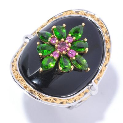 129-229 - Gems en Vogue II 25 x 20mm Black Onyx & Multi Gemstone Curved Ring