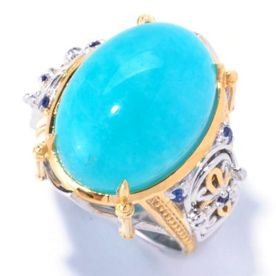 "129-231 - Gems en Vogue II 18 x 13mm Amazonite & Sapphire ""Cathedral Door"" Ring"