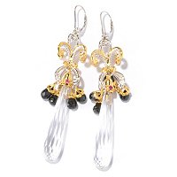SS/PALL EAR ELONGATED WHITE QUARTZ BRIOLETTE & BLACK SPINEL DANGLE