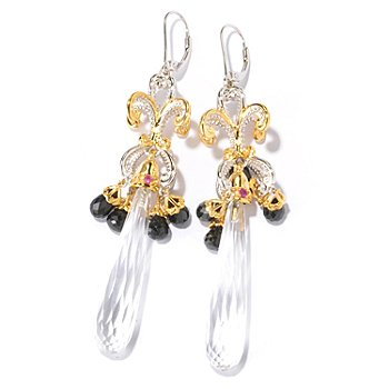 129-233 - Gems en Vogue II Elongated Rock Crystal & Multi Gem Chandelier Earrings