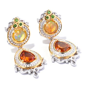 129-234 - Gems en Vogue II 4.24ctw Citrine, Ethiopian Opal & Chrome Diopside Dangle Earrings