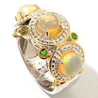 SS/PALL RING ETHIOPIAN OPAL & GEMSTONE BAND