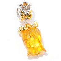 SS/PALL CHARM CARVED AMBER TULIP DROP