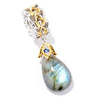 SS/PALL CHARM PEAR-SHAPED LABRADORITE DROP