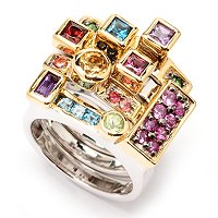 "SS/PALL RING SET OF 4 MULTI GEMSTONE ""ORIGINAL MANHATTAN"""