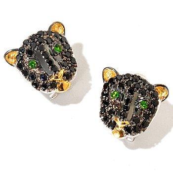 129-251 - Gems en Vogue II Black Spinel & Chrome Diopside Panther Earrings w/ Omega Backs