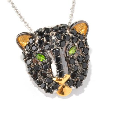 129-252 - Gems en Vogue II Black Spinel & Chrome Diopside Panther Pendant/Pin w/ Chain