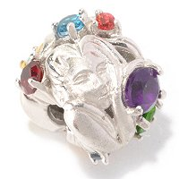 SS/PALL CHARM SCULPTED METAL & MULTI GEMSTONE