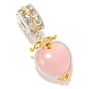 129-256 - Gems en Vogue II 12 x 8mm Rose Quartz & Ruby Heart Drop Charm