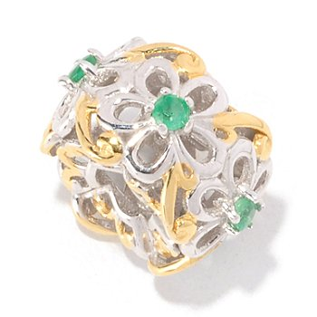 129-258 - Gems en Vogue II Emerald Flower Slide-on Charm