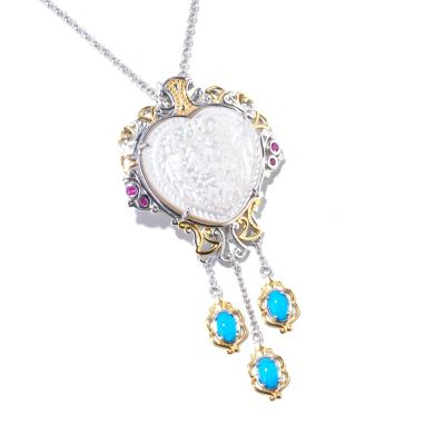 129-260 - Gems en Vogue II 25 x 23mm Carved Mother-of-Pearl & Multi Gemstone Pendant w/ Chain
