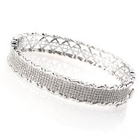 SS PAVE WAVE EDGE BANGLE