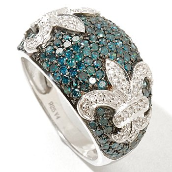 129-264 - Diamond Treasures Sterling Silver 1.50ctw Blue & White Diamond Fleur-de-lis Ring