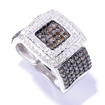 129-266 - Diamond Treasures Sterling Silver 0.97ctw Mocha & White Diamond Square Ring