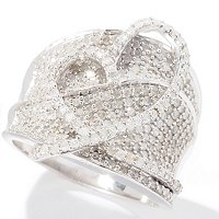 SS PAVE BAND RING WITH FREE FORM HEART