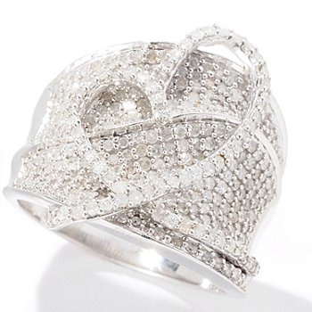 129-269 - Diamond Treasures Sterling Silver 1.38ctw Diamond Freeform Heart Band Ring