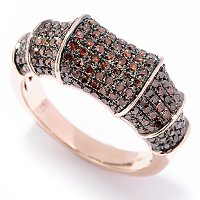 14K RG RED DIAMOND RING WITH BAMBOO LOOK