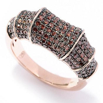129-271 - Diamond Treasures 14K Rose Gold 0.85ctw Red Diamond Bamboo-Style Ring