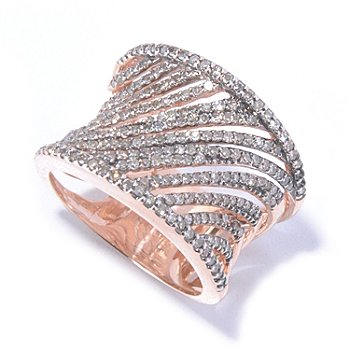129-274 - Diamond Treasures 14K Rose Gold 0.98ctw Champagne Diamond Cut-out Ring
