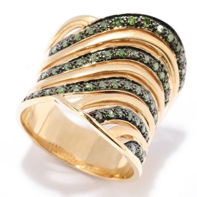 129-277 - Southport Diamonds 0.50ctw Green Diamond Cut-out Wave Ring