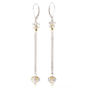 129-283 - Gems en Vogue II White Sapphire Wheat Chain 2.75'' Dangle Earrings w/ Removable Bead