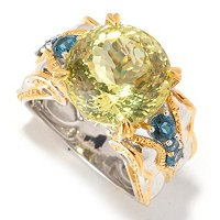 SS/PALL RING 250-FACET OURO VERDE & GEMSTONE
