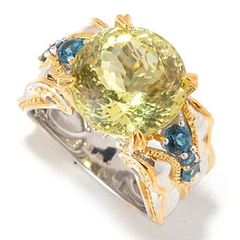 129-285 - Gems en Vogue II 250-Facet Ouro Verde & Multi Gemstone Ring