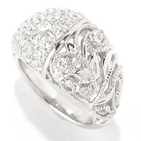 SS/PLAT PAVE AND MIGLRAIN FILIGREE TWO SIDED DOMED RING
