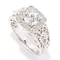 SS/PLAT ROUND CUT SOLITAIRE W/CUT CORNER HALO AND HEART FILIGREE SHANK