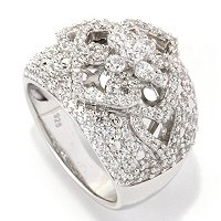SS/PLAT PAVE FOUR LEAF FLOWER CUTOUT GRADUATED BAND RING