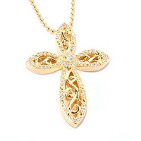 "SS/18KYGP ROUND CUT FILIGREE MARQUISE CROSS PENDANT W/18"" BEADED CHAIN"