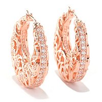 SS/18KRGP DOUBLE SIDED LARGE FILIGREE HOOP EARRINGS