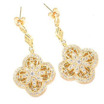 129-308 - Chad Allison™ Gold Embraced™ 1.55 DEW Simulated Diamond Flower Drop Earrings