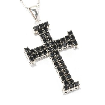 129-312 - Gem Treasures Sterling Silver Black Spinel Cross Pendant w/ 18'' Chain