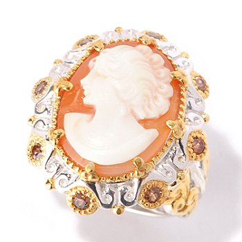 129-316 - Gems en Vogue II 17 x 13mm Carved Shell Cameo & Mocha Zircon Ring