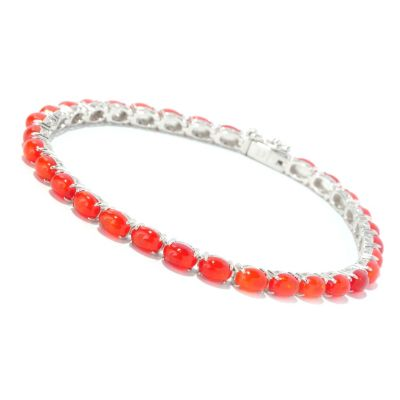 129-317 - Gem Insider Sterling Silver Oval Cut Dyed Orange Opal Tennis Bracelet