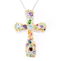 "SS/PALL PEND MULTI GEMSTONE ""CARNAVAL"" CROSS w/ 18"" CHAIN"