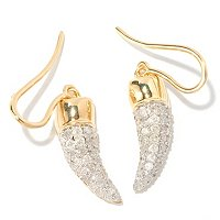 SS/YV PAVE WHT DIAMOND EARRING