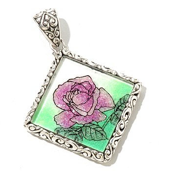 129-340 - Artisan Silver by Samuel B. Crushed Gemstone Flower Square Pendant