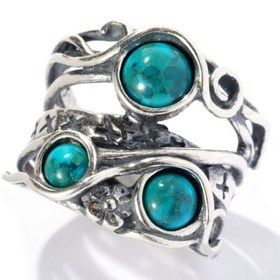 "129-345 - Passage to Israel Sterling Silver Turquoise Three-Stone ""Highway"" Ring"