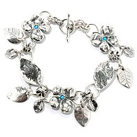 SS FAUX OPAL BUTTERFLIES AND LEAVES BRACELET