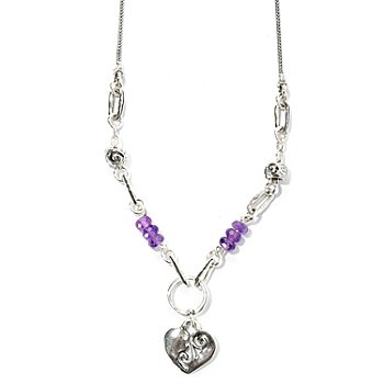 129-352 - Passage to Israel Sterling Silver 18'' Amethyst Bead Heart Dangle Necklace