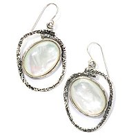SS OVAL STONE DANGLE EARRINGS