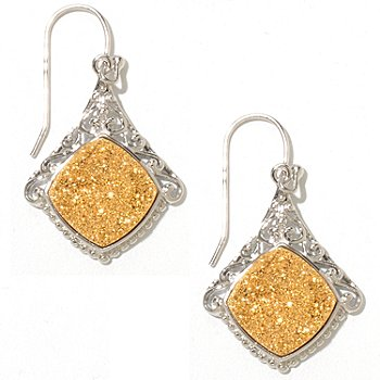 129-355 - Gem Insider Sterling Silver 1.5'' 12mm Square Drusy Earrings