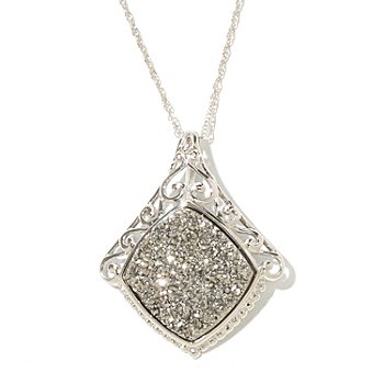 129-356 - Gem Insider Sterling Silver 15mm Square Drusy Pendant w/ Chain