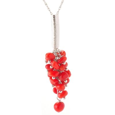 "129-357 - Gem Insider Sterling Silver 18"" Red Coral Drop Pendant w/ Chain"
