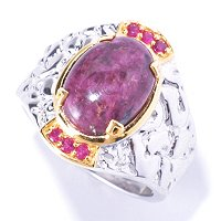 MEN'S - SS/PALL RING OPAQUE TOURMALINE & RUBY